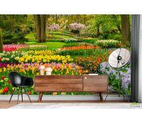 Фотообои разноцветная цветочная поляна