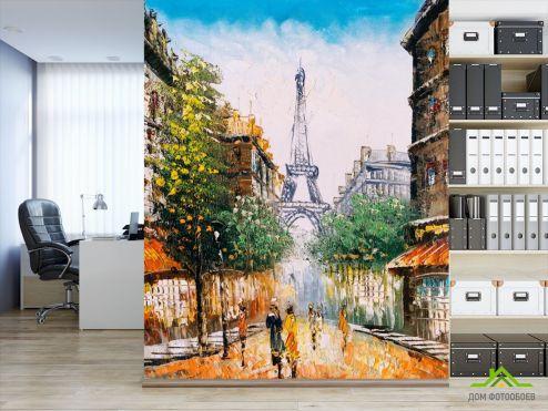 обои Париж Фотообои Париж маслом на холсте