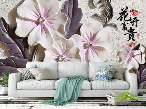 обои 3D барельеф Фотообои Барельефные керамические цветы