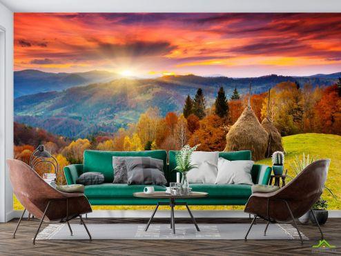 Природа Фотообои стоги сена в горах