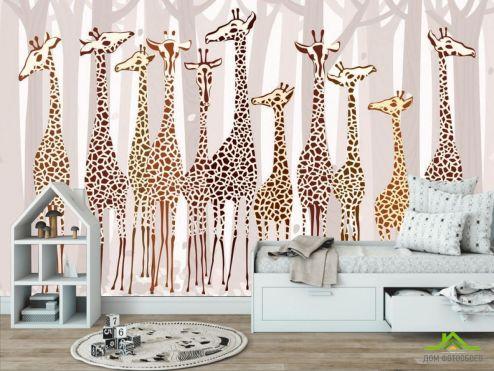 обои в детскую Фотообои Жирафы