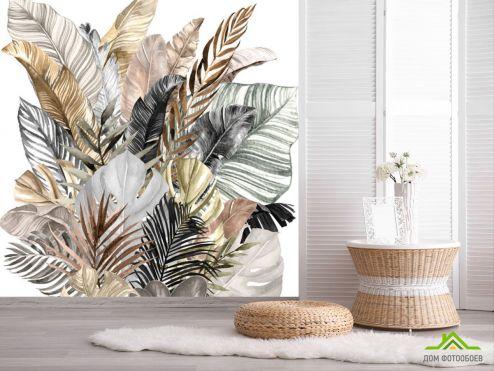 обои тропические листья Фотообои Банановые золотые листья