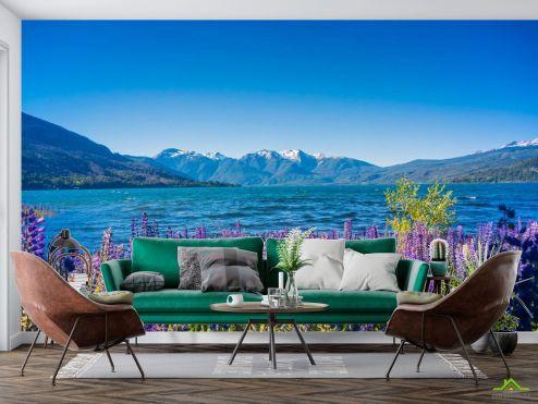 Природа Фотообои горная лаванда на берегу озера купить