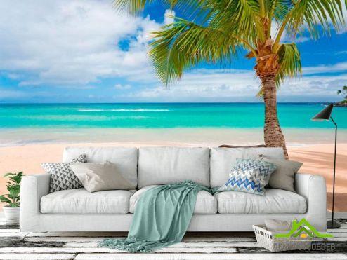 обои Пляж Фотообои Два лежака и пальмы