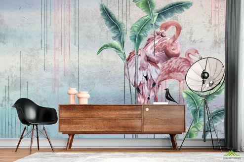 с Фламинго Фотообои Дизайнерские фламинго