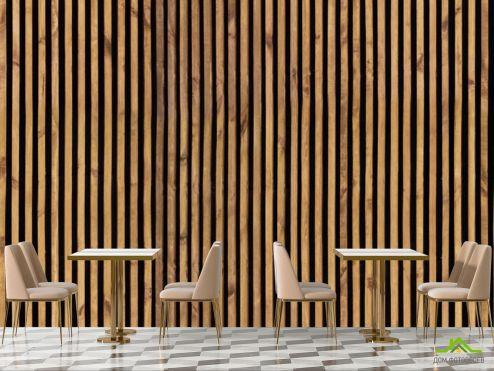 для кафе Фотообои Деревянные рейки