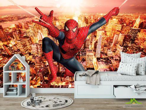 Дитячі фотообої Фотошпалери Людина павук над містом