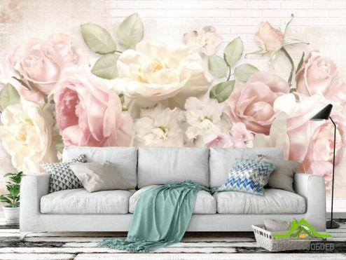 обои Цветы Фотообои Пастельные пионы