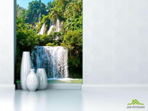 обои Природа Фотообои Водопад, вода, зелень