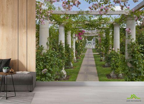 Фотообои в коридор и прихожую по выгодной цене Фотообои Колонны в саду