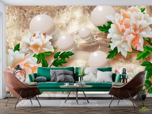 3Д барельеф Фотообои Барельефные цветы купить