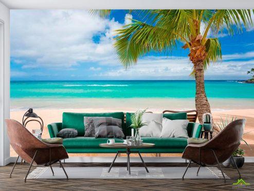 Пляж Фотообои Два лежака и пальмы