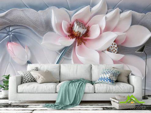 обои 3D барельеф Фотообои Красивый керамический цветок
