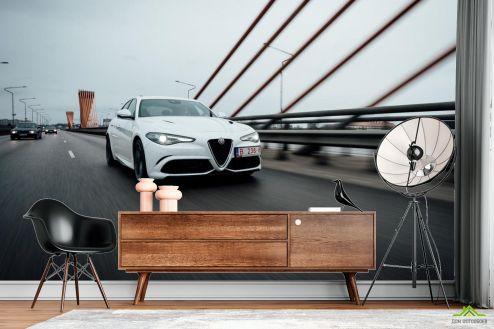 Транспорт Фотообои роскошная белая машина на мосту