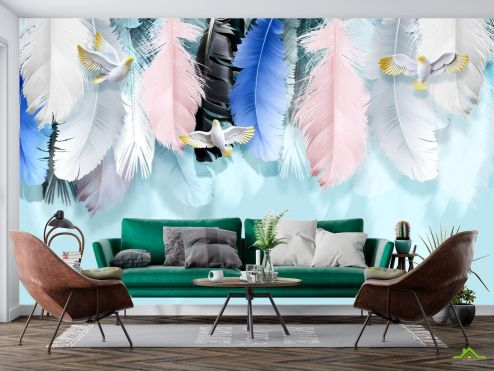 Фотообои перья по выгодной цене Фотообои Разноцветные перья