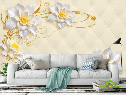 3Д  Фотообои Лилии на фоне ткани