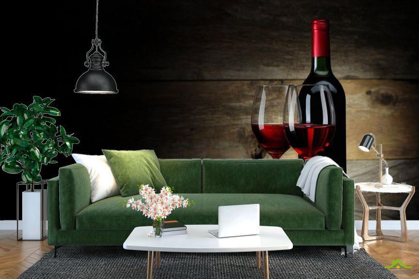 Фотообои красное вино в бокалах