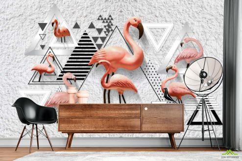 с Фламинго Фотообои Фламинго и геометрия купить