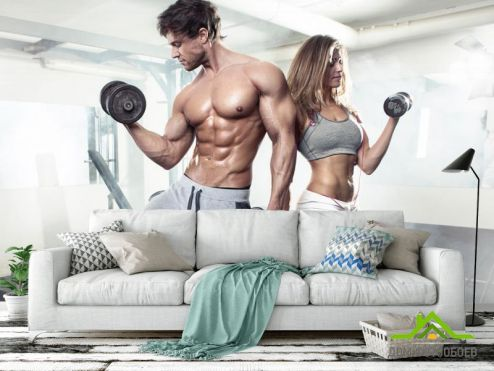 обои Спорт Фотообои фитнес парень и девушка