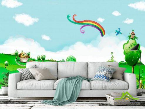 Зеленые обои Фотообои Пруд и мостик