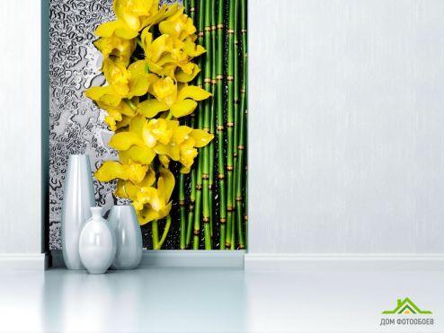 обои Орхидеи Фотообои желтая орхидея с бамбуком и водой