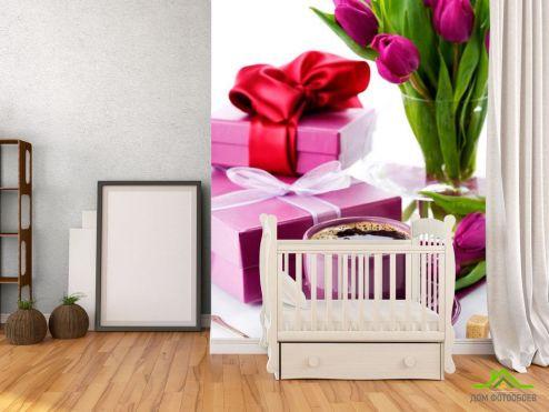 Каталог фотообоев Фотообои Тюльпаны, подарки, кофе
