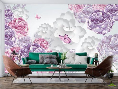 3Д  Фотообои Векторные цветы и бвбочки купить