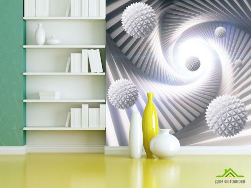 Белые  3д фотообои 3Д шары