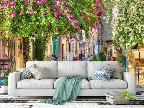 Улицы Фотообои Зеленая уютная улочка