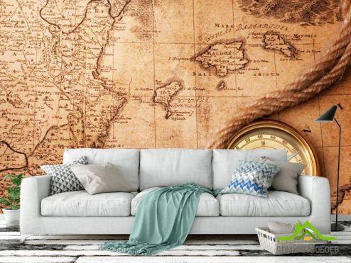 обои Винтажный Компас Фотообои Компас и карта мира