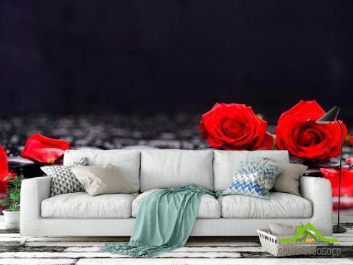 обои Розы Фотообои Розы на камнях