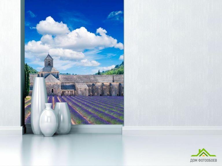 Фотообои Дом, цветы, тучи