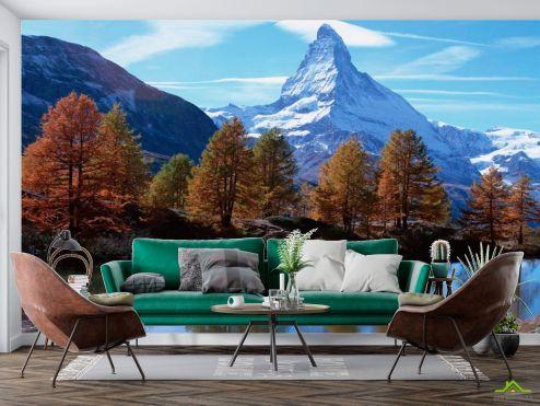 Природа Фотообои Осень, горы, вода