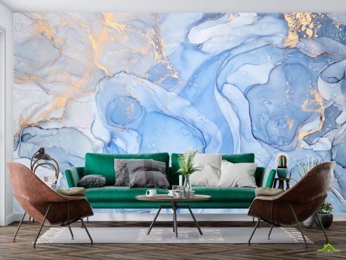 Fluid art Фотообои Голубой флюид с золотом купить