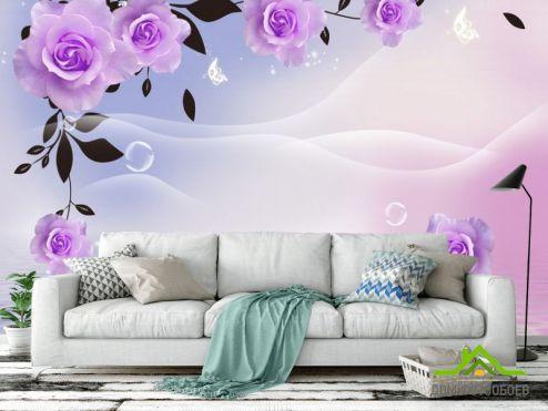 3Д обои Фотообои  Фиолетовые 3д цветы