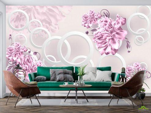 цветы 3d Фотообои Фиолетовые пионы и круги купить