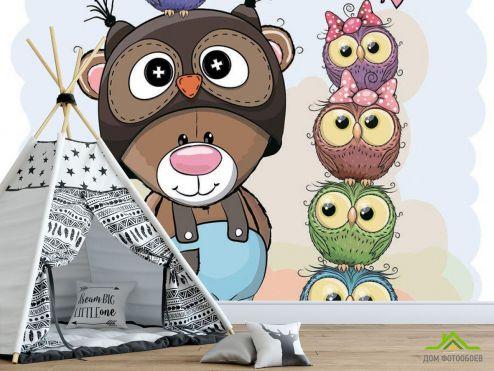 обои для малышей Фотообои Мишка и совы