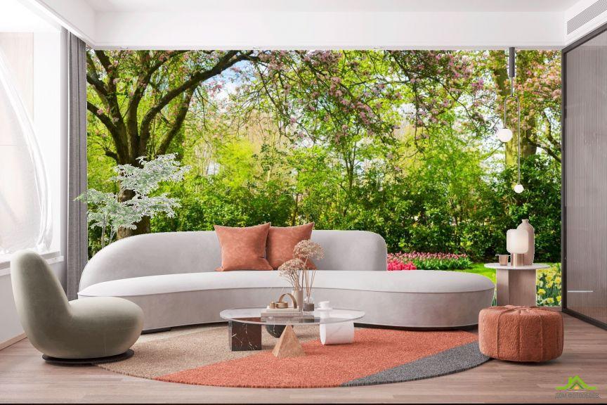 Фотообои розовые тюльпаны в цветочном саду
