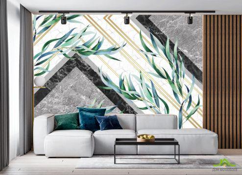 в гостиную Фотообои Мраморный фон с листьями