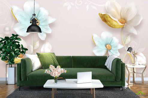 3Д  Цветы барельеф с узорами