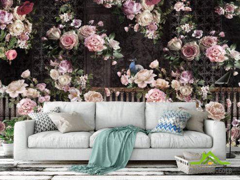 Черные  Фотообои 3д Розы