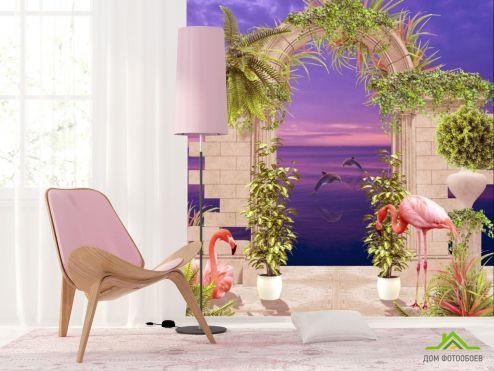Фотообои Вид из окна по выгодной цене Фотообои Арка с фламинго