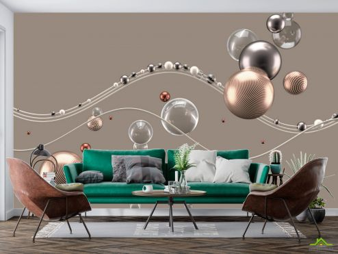 3Д  Фотообои Золотые 3д шары