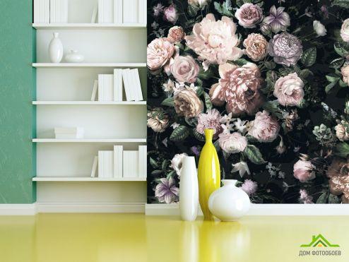 Черные  Фотообои 3Д Цветы