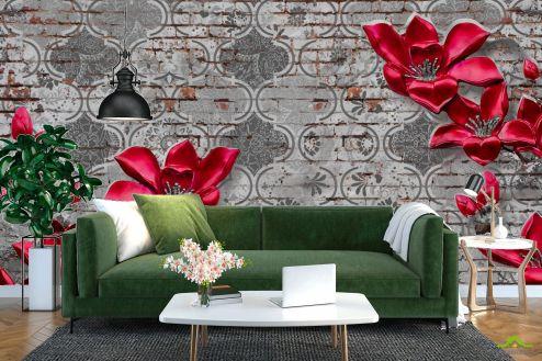 3Д  Фотообои Бордовые цветы на фоне печворк