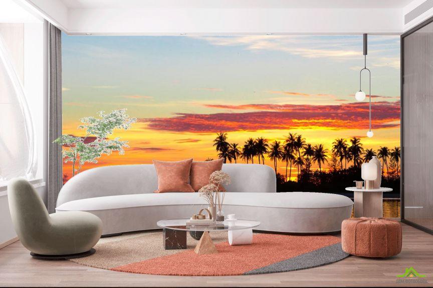 Фотообои пальмы и закат над морем