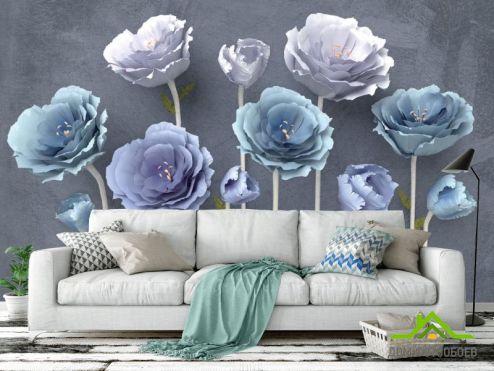 обои Цветы Фотообои Синие красивые цветы