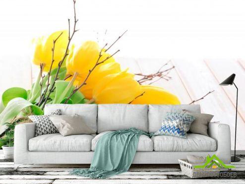 обои Цветы Фотообои Букет из желтых тюльпанов