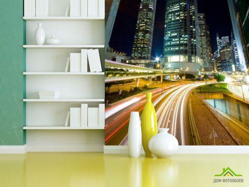 Фотошпалери, колір: «жовтий» Вогники на дорозі