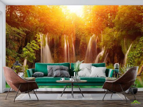 Природа Фотообои солнце над водопадом